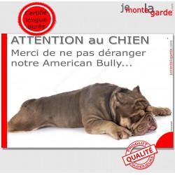 """Plaque portail humour """"Attention au Chien, Merci de ne pas déranger notre American Bully marron"""""""