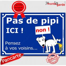 """Plaque humour bleue """"pas de pipi ICI"""", pancarte interdit chien uriner, panneau besoins"""
