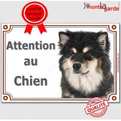 Plaque portail Attention au Chien Finnois de Laponie noir et feu, pancarte panneau Suomenlapinkoira Finnish Lapponian Dog