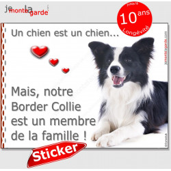 "Border Collie noir et blanc, sticker autocollant ""Love"" 16 x 12 cm"