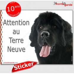"""Terre Neuve noir, panneau autocollant """"Attention au Chien"""", sticker photo race, adhésif"""
