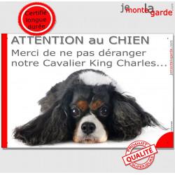 """Plaque """"Attention au Chien, Merci de ne pas déranger notre Cavalier King Charles tricolore"""" pancarte portail humour panneau"""