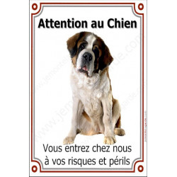 Plaque 24 cm LUXE Attention au Chien, St-Bernard Assis