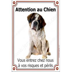 """St-Bernard Assis, plaque portail """"Attention au Chien"""" 24 cm LUXE verticale"""