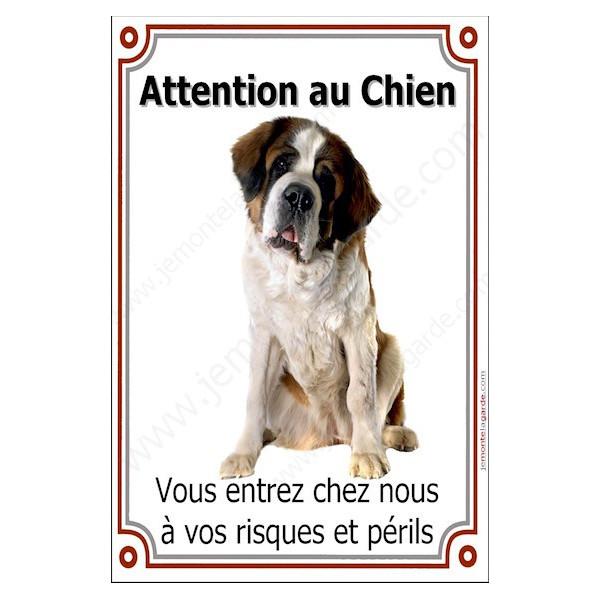 St-Bernard Assis, Plaque Portail Attention au Chien verticale, risques périls, pancarte, affiche panneau Saint-Bernard