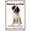 Plaque 24 cm LUXE Attention au Chien, St-Bernard Assis