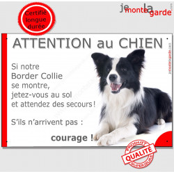 "Border Collie, plaque ""Jetez Vous au Sol, Attention au Chien"" 24 cm JET"