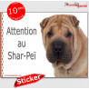"""Shar-Peï, autocollant """"Attention au Chien"""" 16 x 12 cm"""