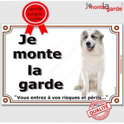 """Montagne des Pyrénées, plaques portail """"Je Monte la Garde, risques et périls"""" pancarte panneau pyrennées attention chien"""
