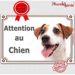 "Jack Russell, plaque portail ""Attention au Chien"" 2 tailles LUX A"