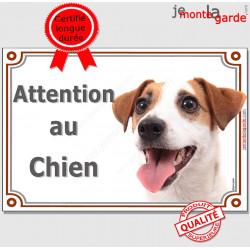 """Jack Russell Blanc et fauve Tête, Plaque portail """"Attention au Chien"""" panneau affiche pancarte photo"""