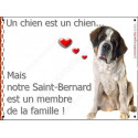 "Saint-Bernard Assis, plaque ""Membre de la Famille"" int./ext. 16 cm LOVE"