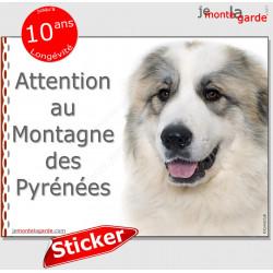 """Montagne des Pyrénées, panneau autocollant """"Attention au Chien"""" Pancarte sticker photo race, adhésif"""