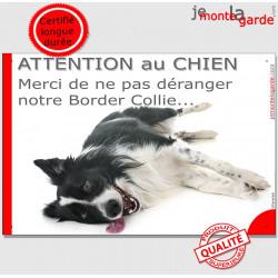 """Plaque """"Attention au Chien, Merci de ne pas déranger notre Border Collie"""" 24 cm NPD"""