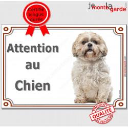 """Shih-Tzu Assis, Plaque portail """"Attention au Chien"""" panneau affiche pancarte, photoShih-Tsu"""
