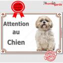 """Shih-Tzu Assis, plaque """"Attention au Chien"""" 4 tailles A"""