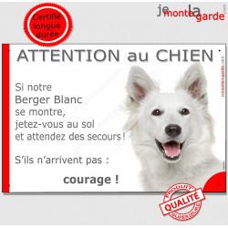 """Berger Blanc Tête, plaque """"Jetez Vous au Sol, Attention au Chien"""" 24 cm"""