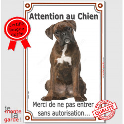 "Boxer Bringé Assis, plaque ""Attention au Chien"" 24 cm VL"