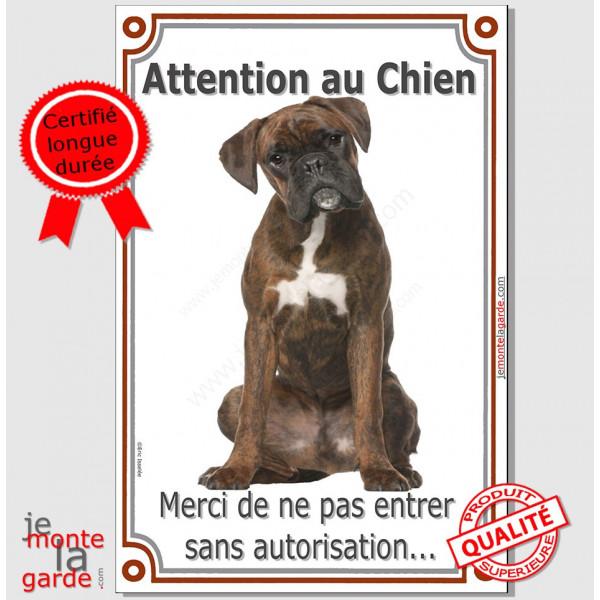 """Boxer Bringé, Plaque Portail verticale """"Attention au Chien, interdit sans autorisation"""" pancarte affiche panneau photo"""