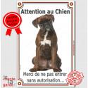 """Boxer Bringé Assis, plaque """"Attention au Chien"""" 24 cm VL"""