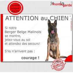 """Malinois assis, plaque humour """"Jetez Vous au Sol, Attention au Chien"""" 24 cm JET"""