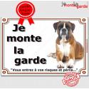 """Boxer Fauve, plaque """"Je Monte la Garde"""" 2 tailles LUX C"""