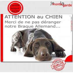 """Plaque portail humour """"Attention au Chien, Merci de ne pas déranger notre Braque Allemand"""" pancarte photo plaque drôle"""