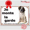 """St-Bernard Assis, plaque """"Je Monte la Garde"""" 3 tailles LUX B"""