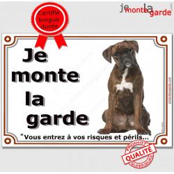 """Boxer Bringé assis, plaque """"Je Monte la Garde"""" 3 tailles LUX B"""