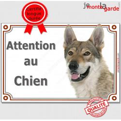 """Chien Loup Tchèque tête, plaque """"Attention au Chien"""" 2 tailles LUX B"""
