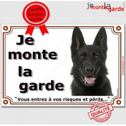"""Berger Allemand Noir, plaque """"Je Monte la Garde"""" 2 tailles LUX C"""