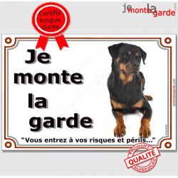"""Rottweiler couché, plaque portail """"Je Monte la Garde"""" 2 tailles LUXE A"""