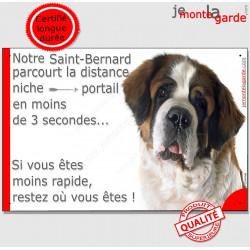 St-Bernard Tête, Plaque Portail humour, pancarte Saint Attention au chien parcourt distance niche portail 3 secondes photo