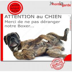 """Plaque """"Attention au Chien, Merci de ne pas déranger notre Boxer"""" 24 cm NPD"""