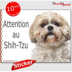 """Shih-Tzu fauve, panneau autocollant """"Attention au Chien"""" Pancarte sticker photo adhésif Shih-Tsu beige crème"""
