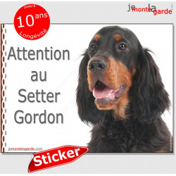 "Setter Gordon, panneau autocollant ""Attention au Chien"", pancarte sticker photo adhésif"