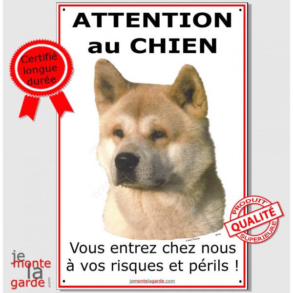 Akita Inu Fauve, plaque portail verticale Attention au Chien pancarte affiche panneau, risques et périls jaune sable
