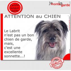 """Plaque portail humour """"Attention au Chien, notre Labrit est une sonnette"""" Pancarte Berger des Pyrénées gris bleu drôle photo"""