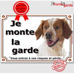 "Epagneul Breton, plaque ""Je Monte la Garde"" 2 tailles LUX C"