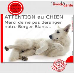 """Plaque """"Attention au Chien, Merci de ne pas déranger notre Berger Blanc"""" 24 cm NPD"""