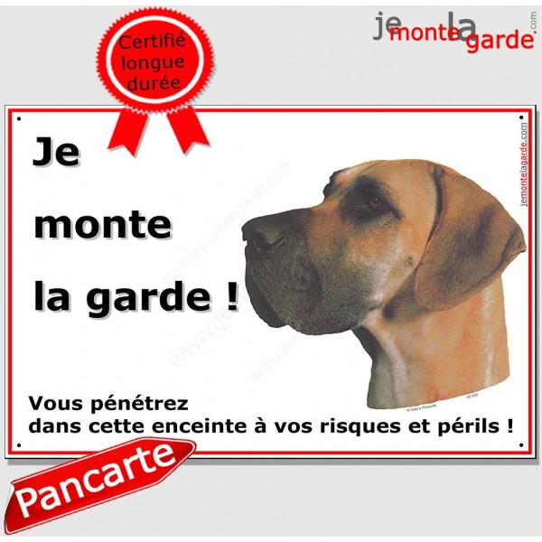 Dogue Allemand Fauve, panneau je monte la garde portail, plaque pancarte orange danois, risques périls attention au chien