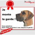 """Dogue Allemand Fauve, plaque """"Je Monte la Garde"""" 24 cm ECO"""