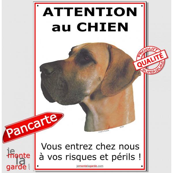 Dogue Allemand Fauve, Pancarte Portail Attention au Chien, plaque affiche pancarte, Danois orange, risques et périls