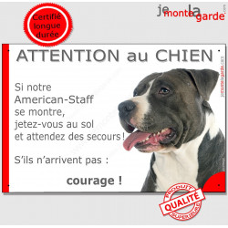 "Am-Staff, plaque "" Jetez Vous au Sol, Attention au Chien"" 24 cm JET"