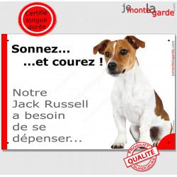 """Jack Russell, plaque humour """"Sonnez et Courez !"""" 24 cm"""