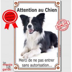 """Border Collie panneau portail vertical """"Attention au Chien, interdit sans autorisation"""" plaque pancarte photo"""
