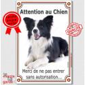 """Border Collie, plaque verticale """"Attention au Chien"""" 24 cm VLA"""