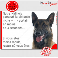 """Malinois, plaque humour """"distance Niche - Portail"""" 24 cm"""