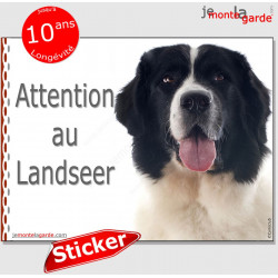"Landseer, panneau autocollant ""Attention au Chien"" Pancarte sticker photo race adhésif"