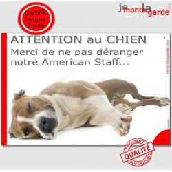 """Plaque portail humour """"Attention au Chien, Merci de ne pas déranger notre Am-Staff"""" pancarte photo drôle American Staff fauve et"""